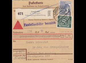 BiZone Paketkarte 1947: Gangkofen nach Bad Aibling, Selbstbucher, Nachnahme