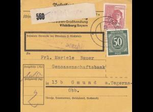 BiZone Paketkarte 1947: Vilsbiburg nach Gmund, Selbstbucher