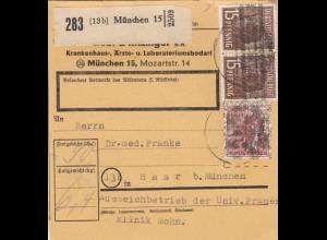 BiZone Paketkarte 1948: München, Krankenhausbedarf nach Haar, Selbstbucher