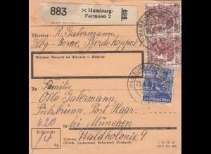 BiZone Paketkarte 1948: Hamburg Berne Farmsen nach Putzbrunn