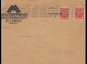 Brief Inflation 1923, Perfin, Leipziger Mustermesse nach Gröba/Elbe