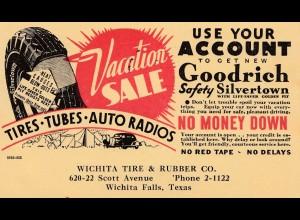 Werbekarte USA Wichita Falls/Texas, Werbung Reifen Tires, Tubes, Auto Radios1935