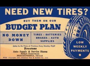 Werbekarte von USA Breckenridge, Texas, Werbung Reifen -Tires, Firestone 1938