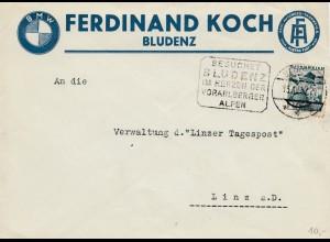 BMW Bludenz 1937, rückseitige Werbung Zündlicht Service, Werbestempel