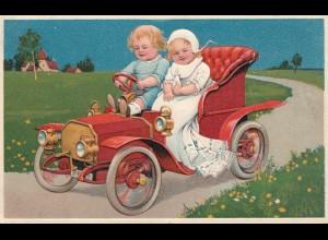 Thematik: Automobil: Ansichtskarte Kinder im Auto1908 von Boppard nach Holland
