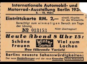 Eintrittskarte Internat. Automobil Ausstellung 1934, Werbung Restaurant Kranzler