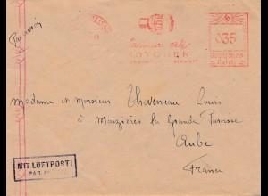 Brief Freistempel Niedersedlitz/Dresden nach Frankreich mit Werbung Motoren