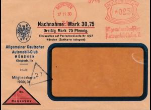 ADAC Nachnahme Brief München 1930, Umschlag für Mitgliedskarte