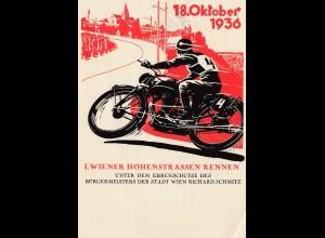 Wiener Hohenstrassen Rennen 1936 - AK mit Sonderstempl - Offizielle Festkarte