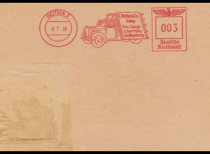 Ausschnitt Brief Freistempel Gotha 1939 Glas-,Spielgel-,Sperrholzgroßhandlung
