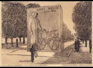 Ansichtskarte Carl Benz Denkmal-Mannheim 1933