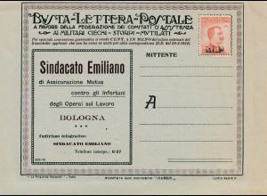 Italienischer Brief Bologna Militari Werbung innen, ungebraucht mit Faltblatt