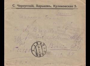 Brief nach Berlin aus Russland 1922 mit Bahnpoststempel