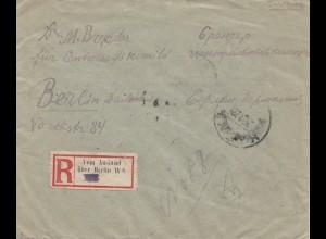 Brief mit R-Zettel: Vom Ausland über Berlin W8 1922