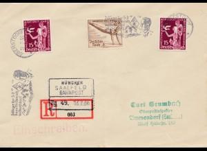 Einschreiben mit R-Zettel Müchen-Saalfeld-Bahnpost 1936