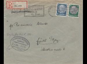 Einschreiben Blanko R-Zettel 100- Bahnpost Frankfurt Nürnberg, Werbung Saar 1935