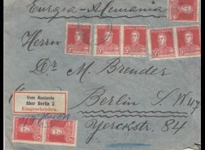 Einschreiben Brief aus Argentinien nach Berlin 1923