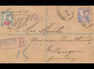 Brief England/London als Einschreiben - Erlangen; BP Verviers-Cöln, Registered