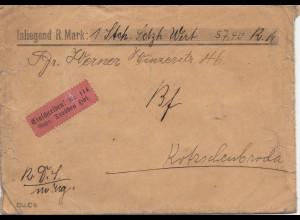 Wertbrief Einschreiben per Bahnpost Verschlussvignette Reichsbahn Dresden Hbf