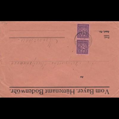 Bergbau: Brief Bodenwöhr Hüttenamt nach München - Dienstmarke MeF