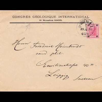 Bergbau: Brief Congres Geologieque Internat. Wien nach Leipzig 1903