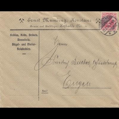 Bergbau: Brief aus Konstanz 1904: Kohlen, Koks, Brikets, Brennholz, Holzkohle