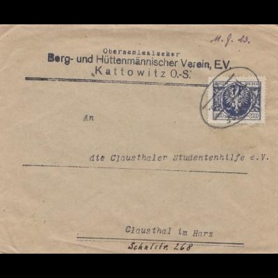 Bergbau: Hüttenmännischer Verein Kattowitz OS-Polen, Clausthal 1923, Bahnpost