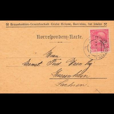 Bergbau: Braunkohlen Gewerkschaft Grube Helene, Boreslau, Post Schallan 1916