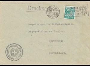Bergbau: Brief Zürich, Drucksache 1938, Erdbebendienst Erdbebenstation Göttingen