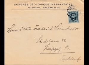 Bergbau: Congres Geologique Internat. Stockholm 1910, Leipzig mit Briefinhalt