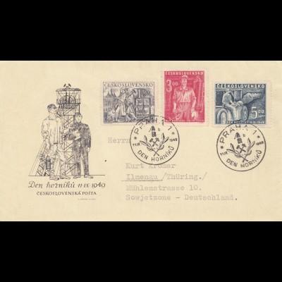 Bergbau: Brief Tschecheslovakei Prag 1949 nach Ilmenau