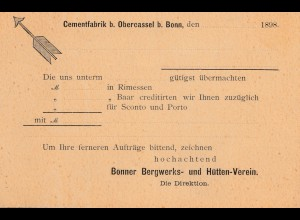 Bergbau: Ganzsache DR mit privatem Zudruck Cementfabrik Obercassel bei Bonn 1898
