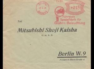 Bergbau: 1931, Spezialfabrik Gruben-Beleuchtung, Zwickau - Berlin an Mitsubishi