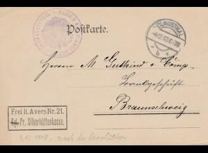 Bergbau: 1918 Postkarte Clausthal Königl. Silberhütte nach Braunschweig