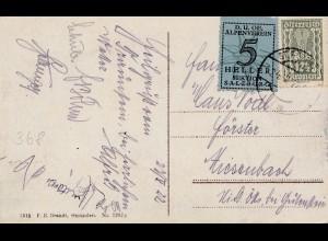 Bergbau: AK Gmunden, Spendenvignette 5 Heller Alpenverein Salzburg 1922