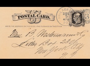 Postal Card Philadelphia 1879, bookseller, Publisher, Bücher