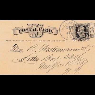 Postal Card Philadelphia 1879, bookseller, Publisher, Bücher