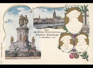 Ganzsache Ansichtkarte 500 jährige Gutenberg Feier Frankfurt/Main - Prägung