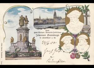 Ganzsache Ansichtkarte 500 jährige Gutenberg Feier Frankfurt/Main - Prägung 1900