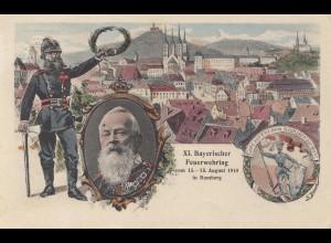 XI. Bayrischer Feuerwehrtag Bamber 1910, Ansichtskarte