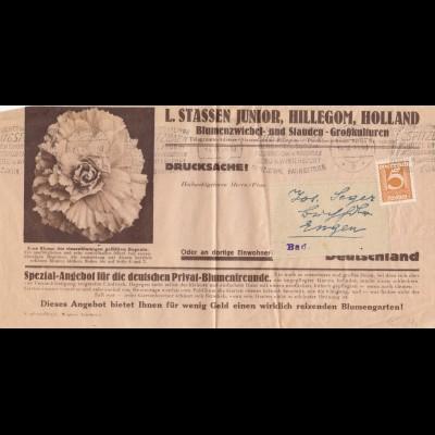 Zeitungsstreifband Innsbruk, Blumenzwiebel/Stauden 1923