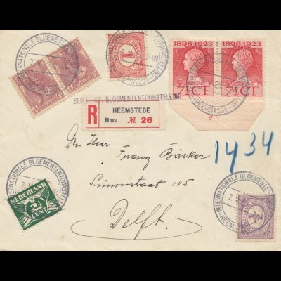 Einschreiben Heemstede 1925, Interant. Bloemententconste... nach Delft, Holland