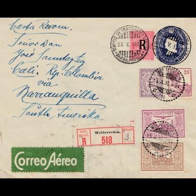 Niederländisch Indien, 1930, Weltevreden Colombia via South America