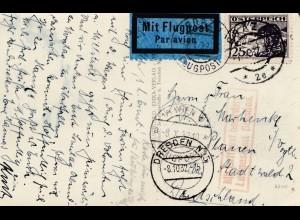AK Graz 1932, mit Flugpost nach Plauen- Luftpostamt Dresden