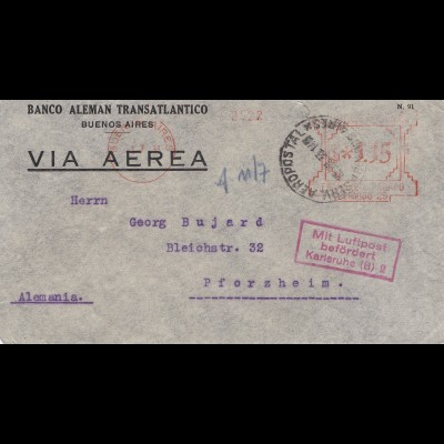 Argentinien: Banco Aleman Transatlantico-Luftpost befördert Karlsuhe