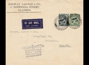 Air Mail Glasgow nach Rotterdam 1930