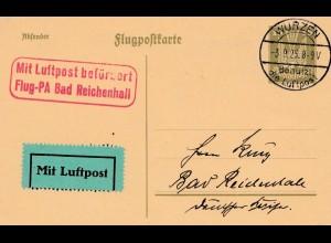 Flugpost Ganzsache 1925: Flug-PA BAd Reichenhall - Wurzen