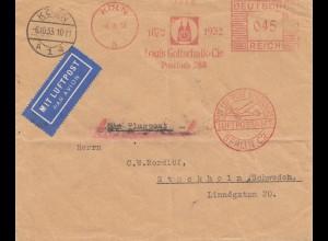 Köln 1933 Luftpost Berlin Stockholm