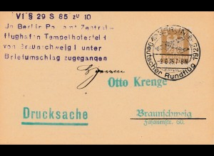 Berlin Deutscher Rundflug 1925 - Per Brief Postamt zugegangen Feldpostkarte