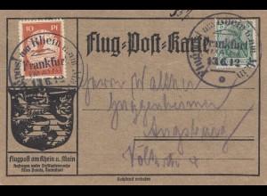 Flug-Post Karte Frankfurt 1912 nach Augsburg - Flugpostmarke